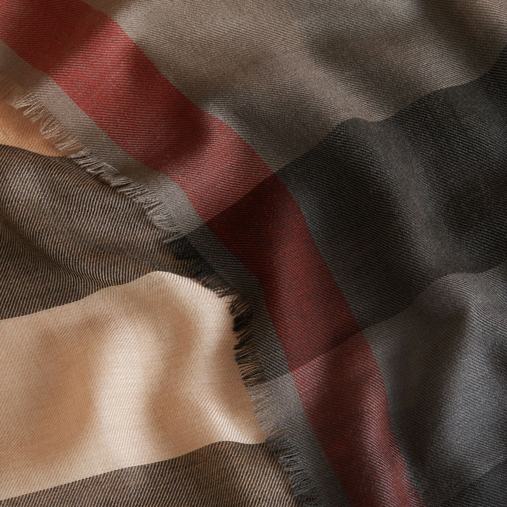 The Lightweight Cashmere Scarf in Ombré Check Camel/black - gallery image 2