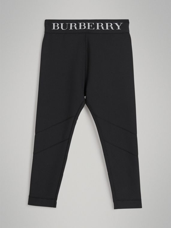 Leggings in jersey stretch con logo (Nero)