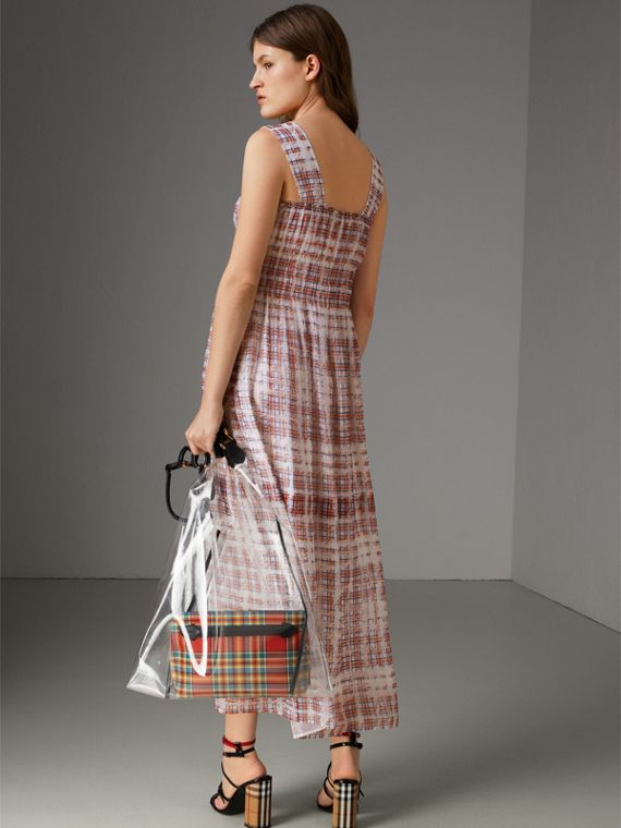 Gathered Scribble Check Silk Dress in Military Red - Women | Burberry Singapore - cell image 2