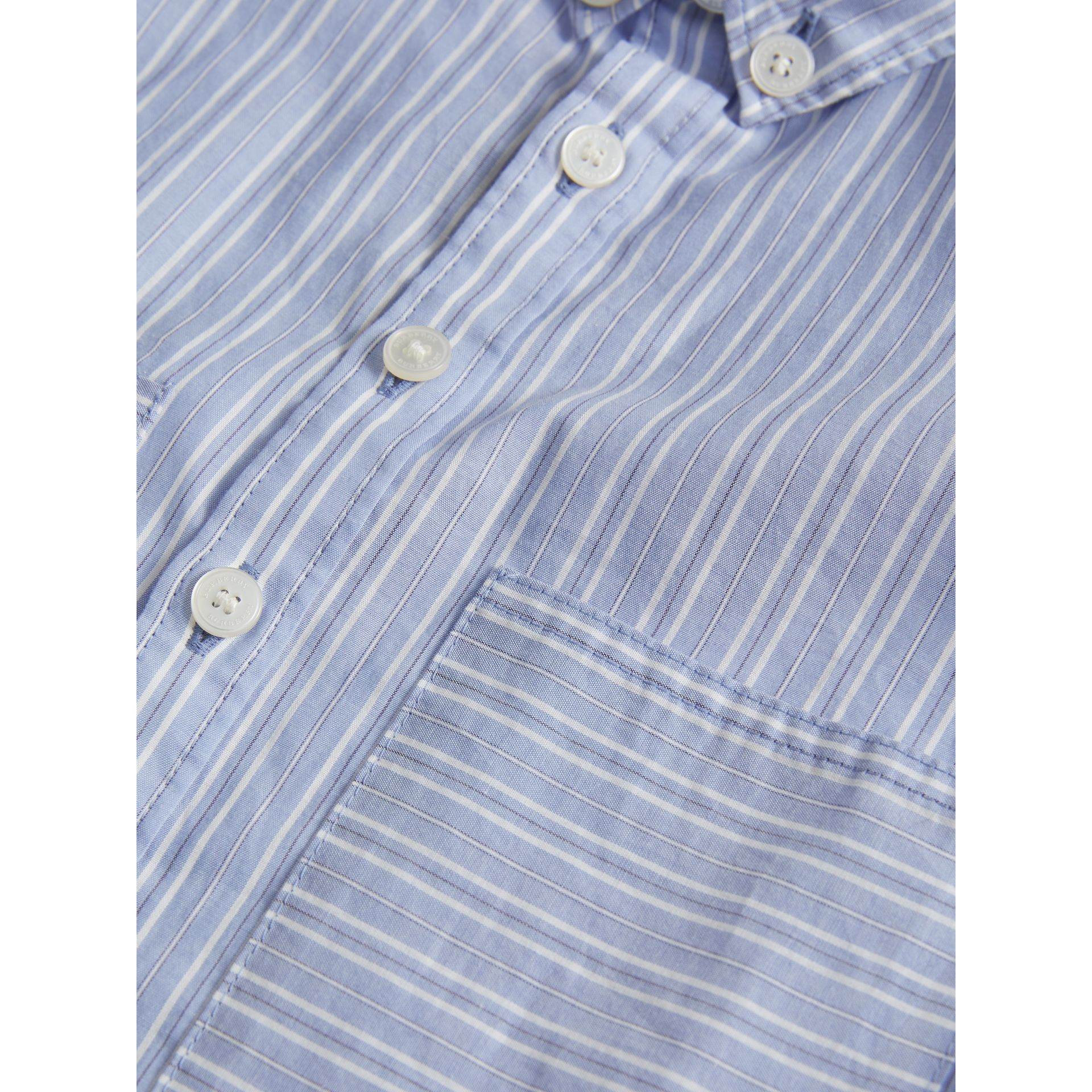 Directional Stripe Cotton Shirt in City Blue | Burberry - gallery image 1