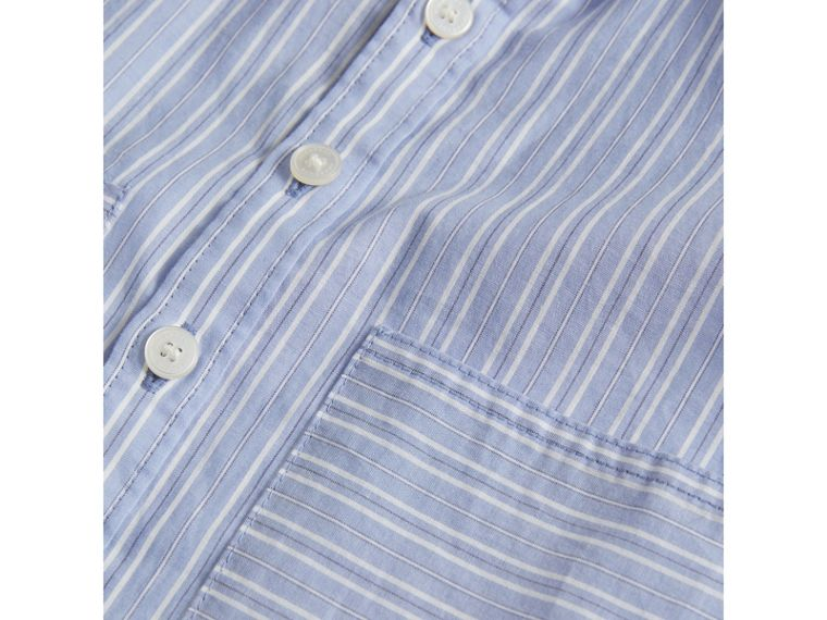 Directional Stripe Cotton Shirt in City Blue | Burberry - cell image 1