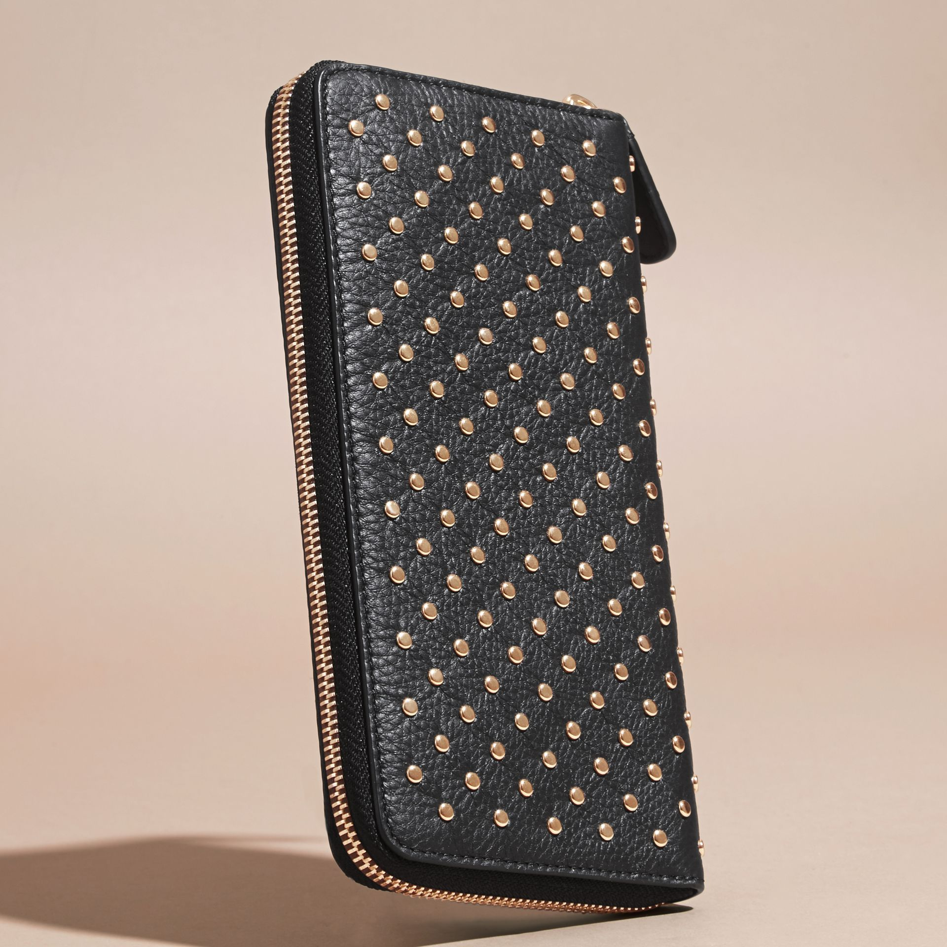 Black Studded Leather Ziparound Wallet - gallery image 4