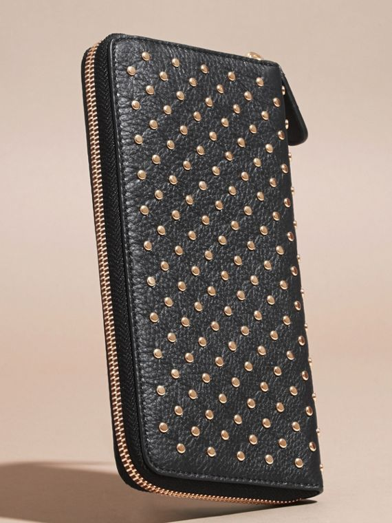 Black Studded Leather Ziparound Wallet - cell image 3