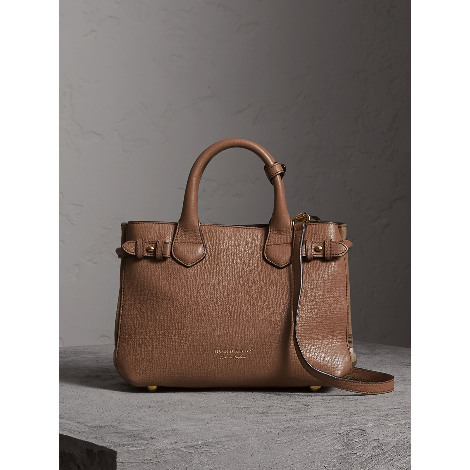 The Small Banner in Leather and House Check in Dark Sand - Women | Burberry - gallery image 7