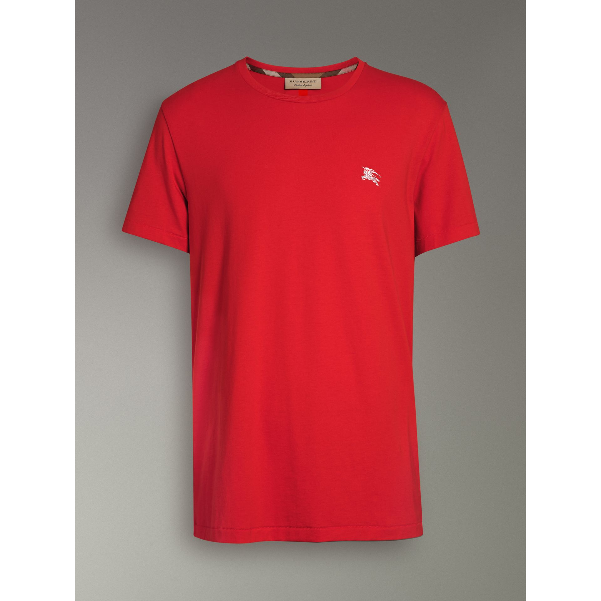 Cotton Jersey T-shirt in Bright Red - Men | Burberry - gallery image 3