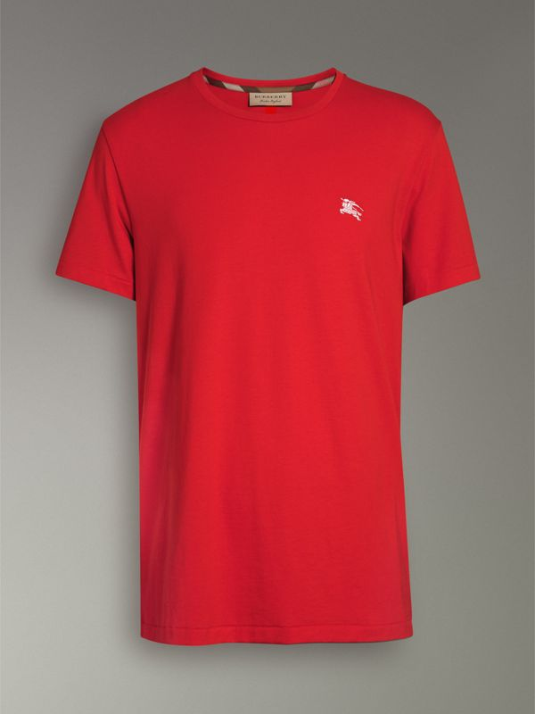 Cotton Jersey T-shirt in Bright Red - Men | Burberry - cell image 3