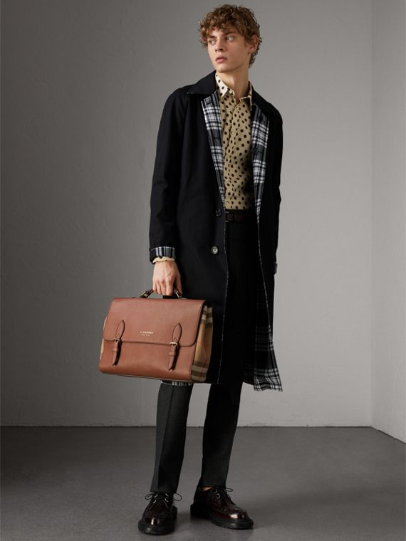 Leather and House Check Satchel in Chestnut Brown - Men | Burberry Hong Kong - cell image 2