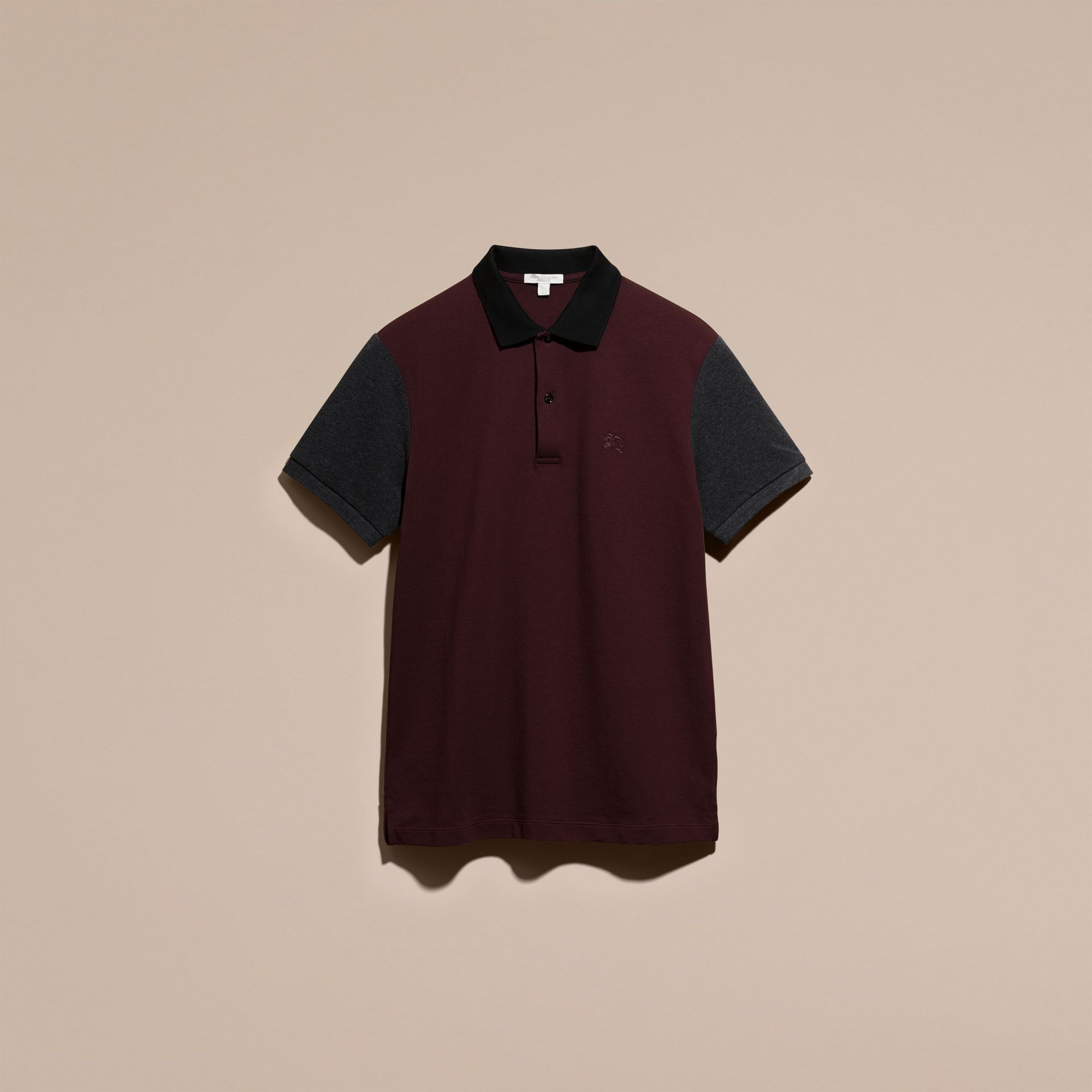 Deep claret Colour-block Cotton Piqué Polo Shirt Deep Claret - gallery image 4