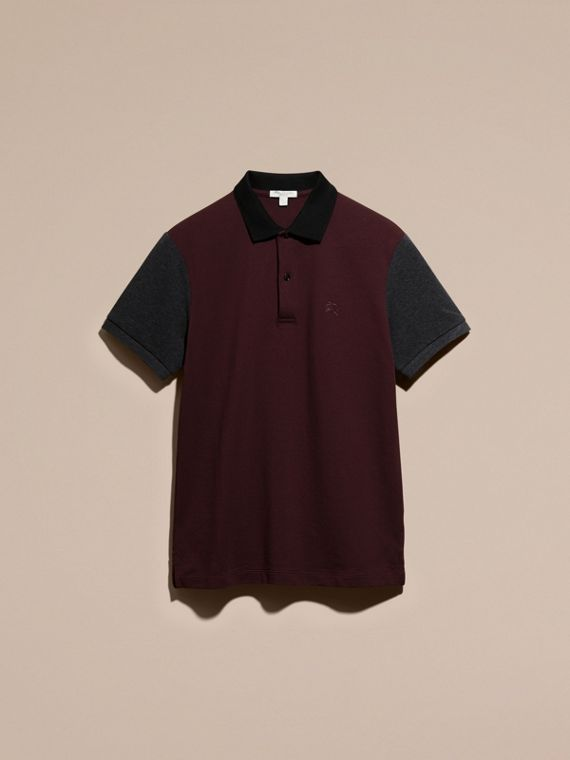 Deep claret Colour-block Cotton Piqué Polo Shirt Deep Claret - cell image 3