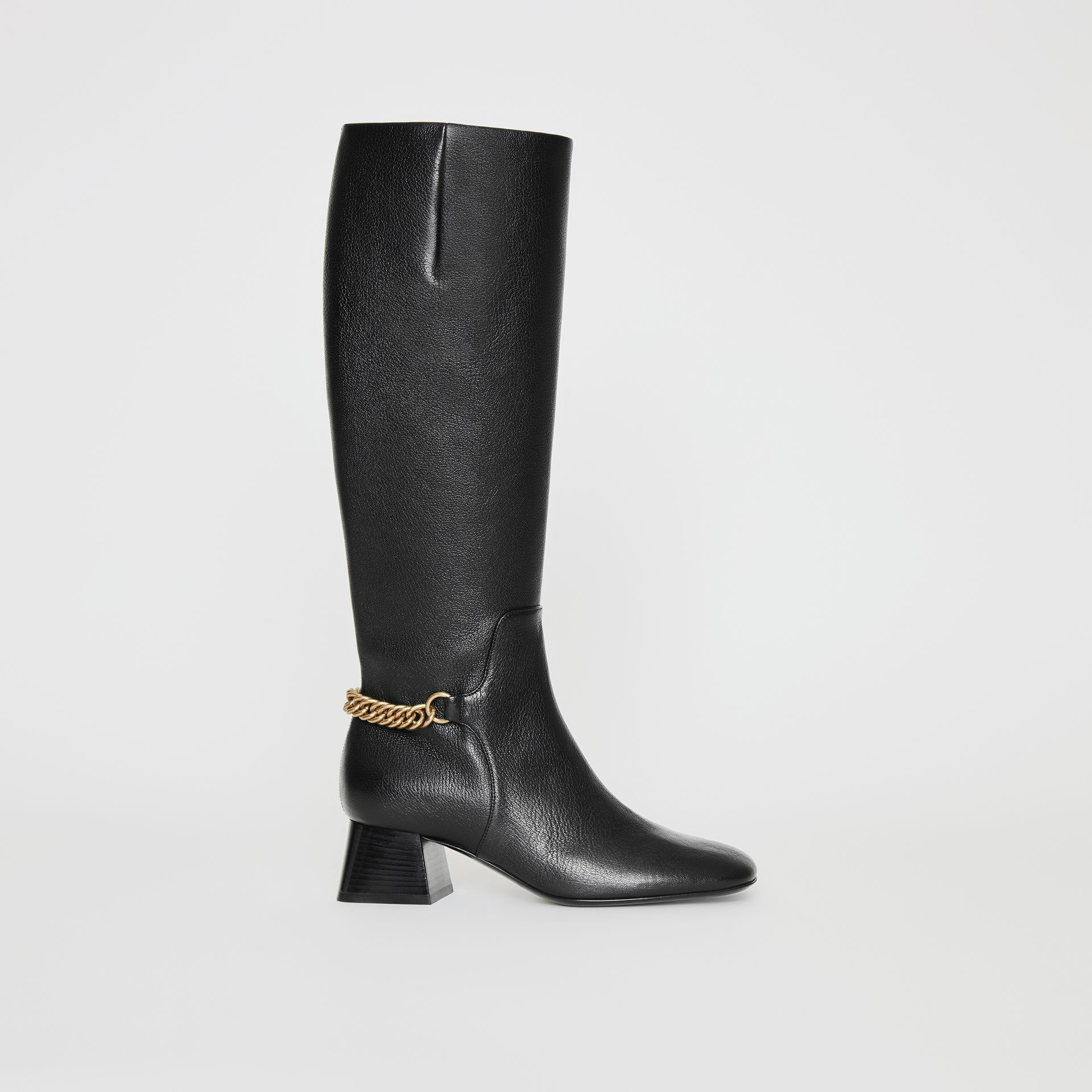 Link Detail Leather Knee-high Boots in Black - Women | Burberry - gallery image 5