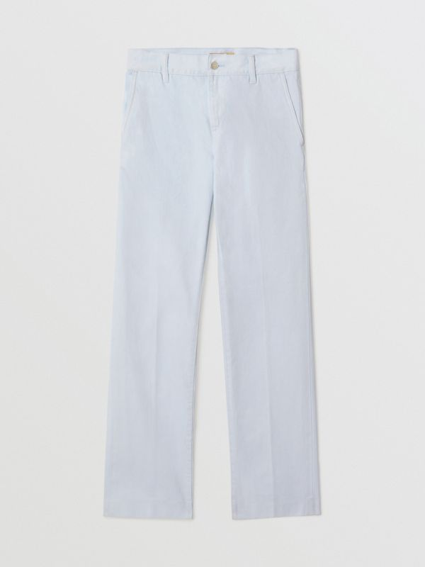 Embroidered Crest Relaxed Fit Jeans in Chalk Blue - Men | Burberry United States - cell image 3