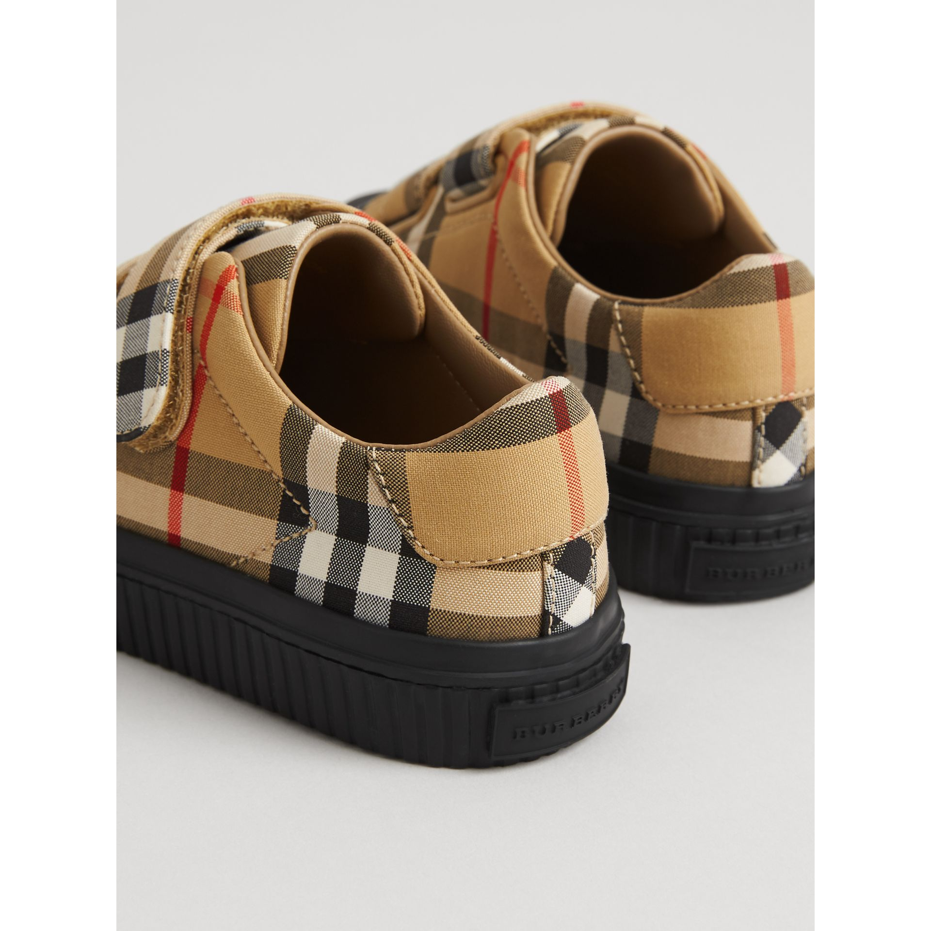 Vintage Check and Leather Sneakers in Antique Yellow/black | Burberry Australia - gallery image 2