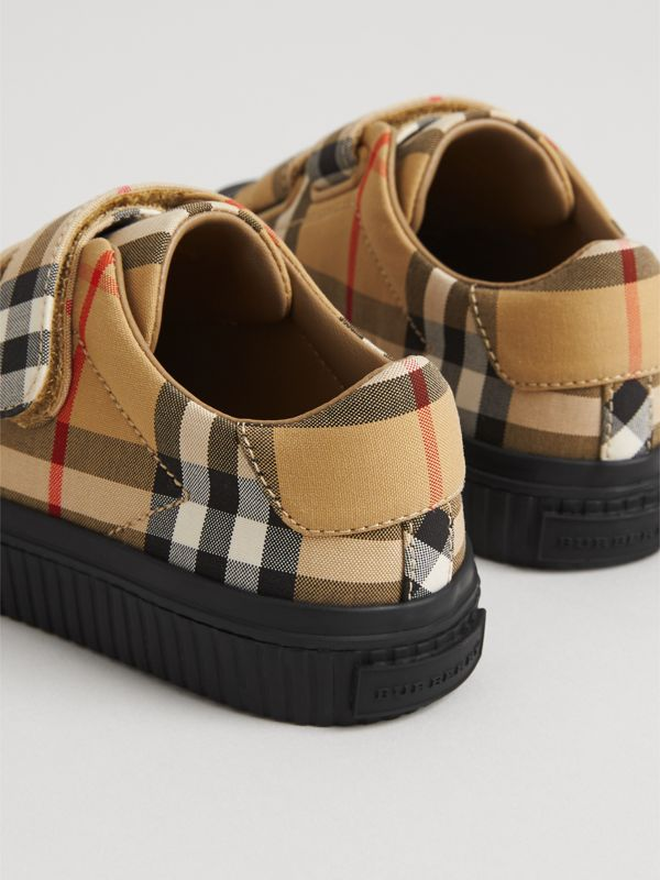 Vintage Check and Leather Sneakers in Antique Yellow/black | Burberry Hong Kong - cell image 2