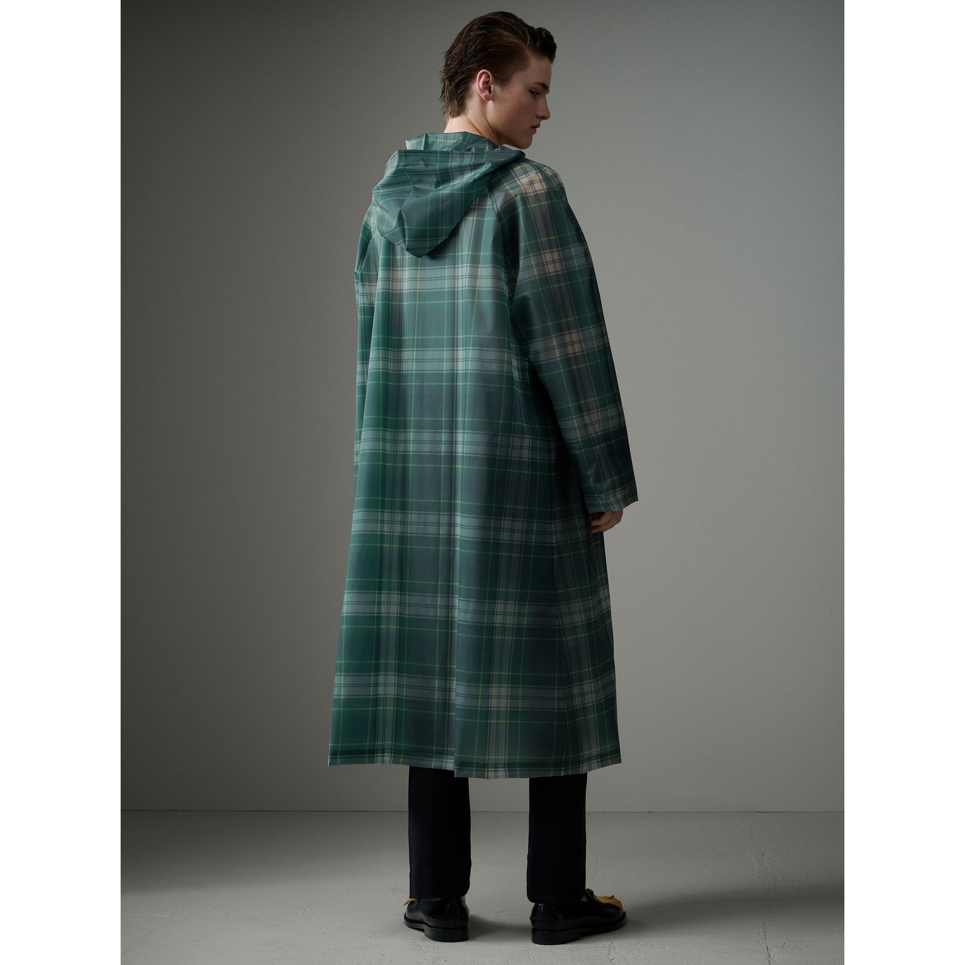 Tartan Soft-touch Plastic Hooded Car Coat in Navy - Men | Burberry United Kingdom - gallery image 2