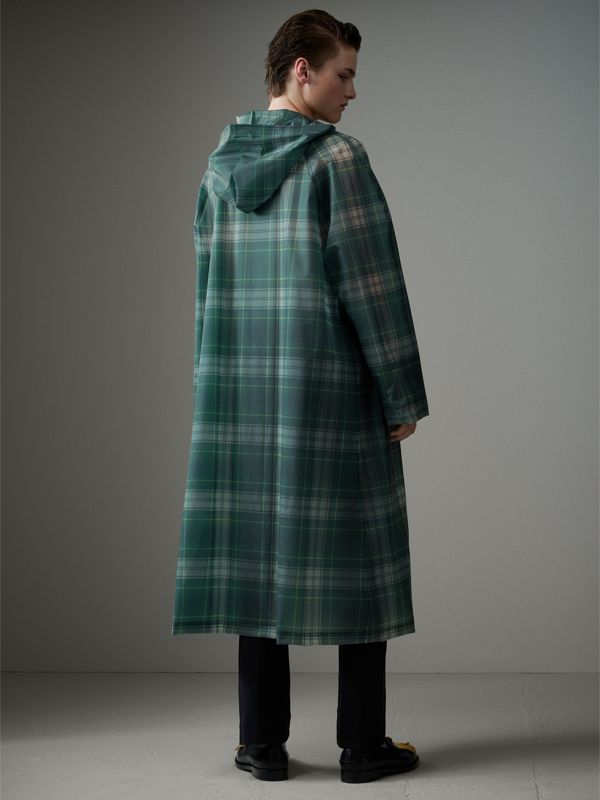 Tartan Soft-touch Plastic Hooded Car Coat in Navy - Men | Burberry - cell image 2