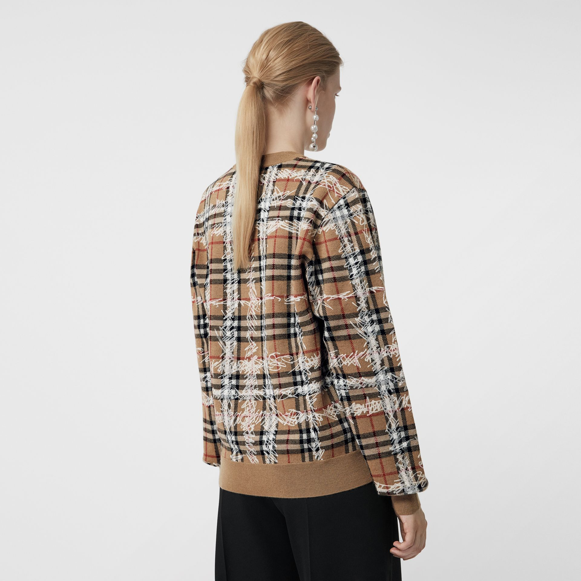 Scribble Check Merino Wool Sweater in Camel/white - Women | Burberry - gallery image 2