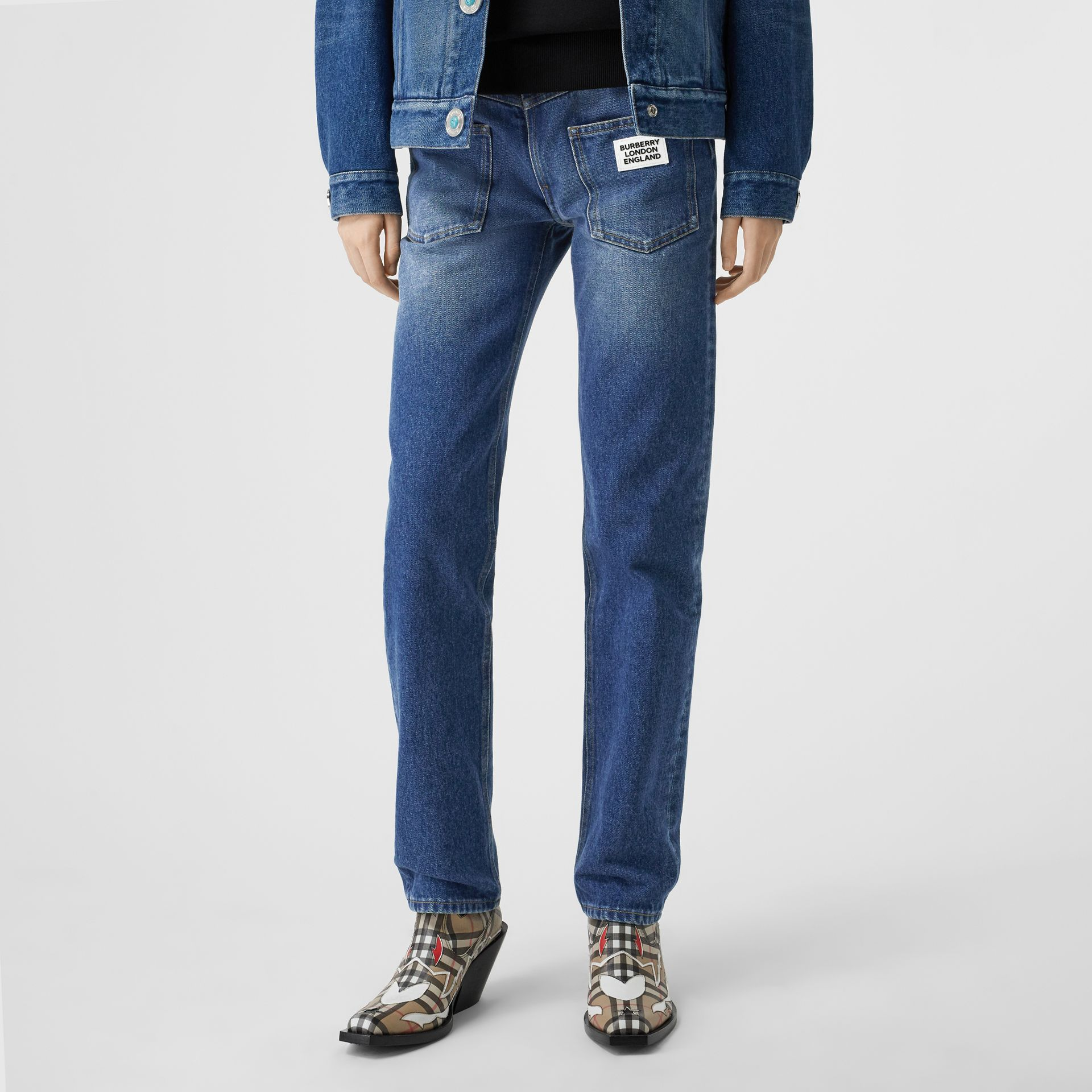 Straight Fit Logo Detail Reconstructed Jeans in Indigo - Women | Burberry - gallery image 3
