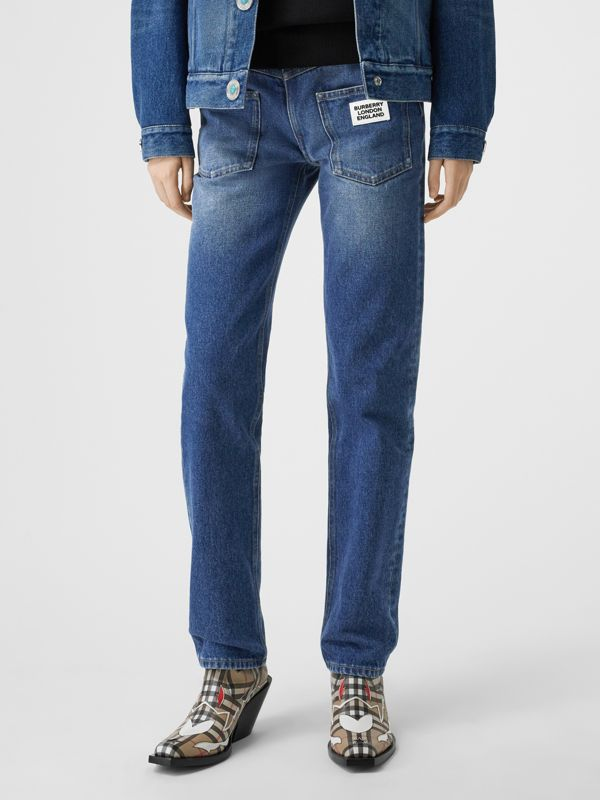 Straight Fit Logo Detail Reconstructed Jeans in Indigo - Women | Burberry - cell image 3