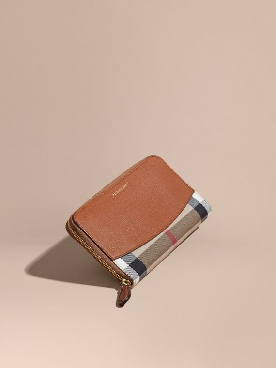 House Check and Leather Ziparound Wallet Brown Ochre