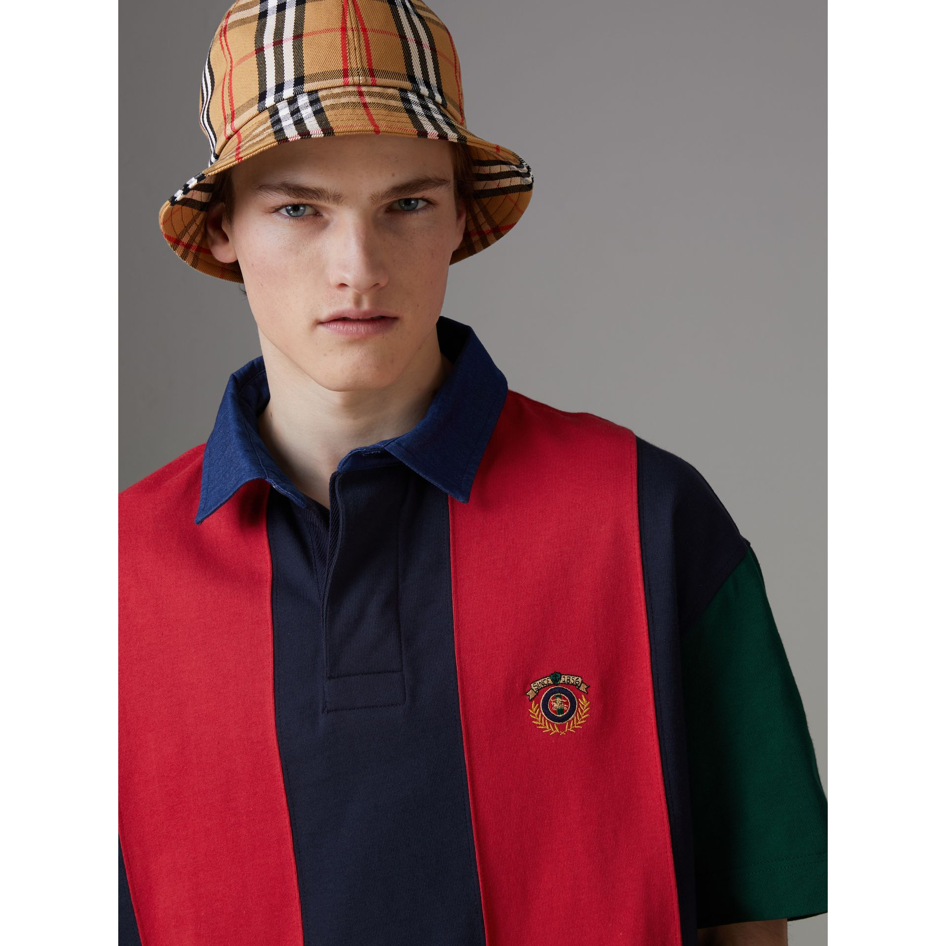 Reissued Striped Cotton Polo Shirt in Bright Red - Men | Burberry United Kingdom - gallery image 1
