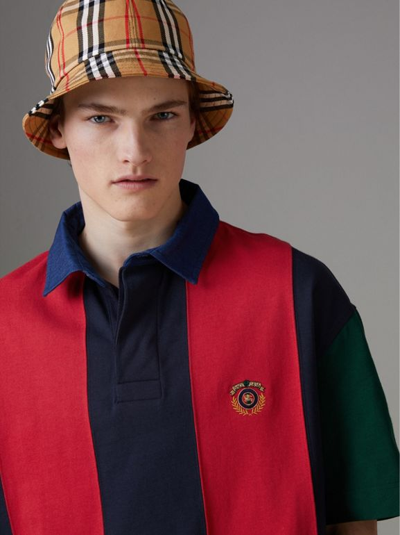 Reissued Striped Cotton Polo Shirt in Bright Red - Men | Burberry - cell image 1