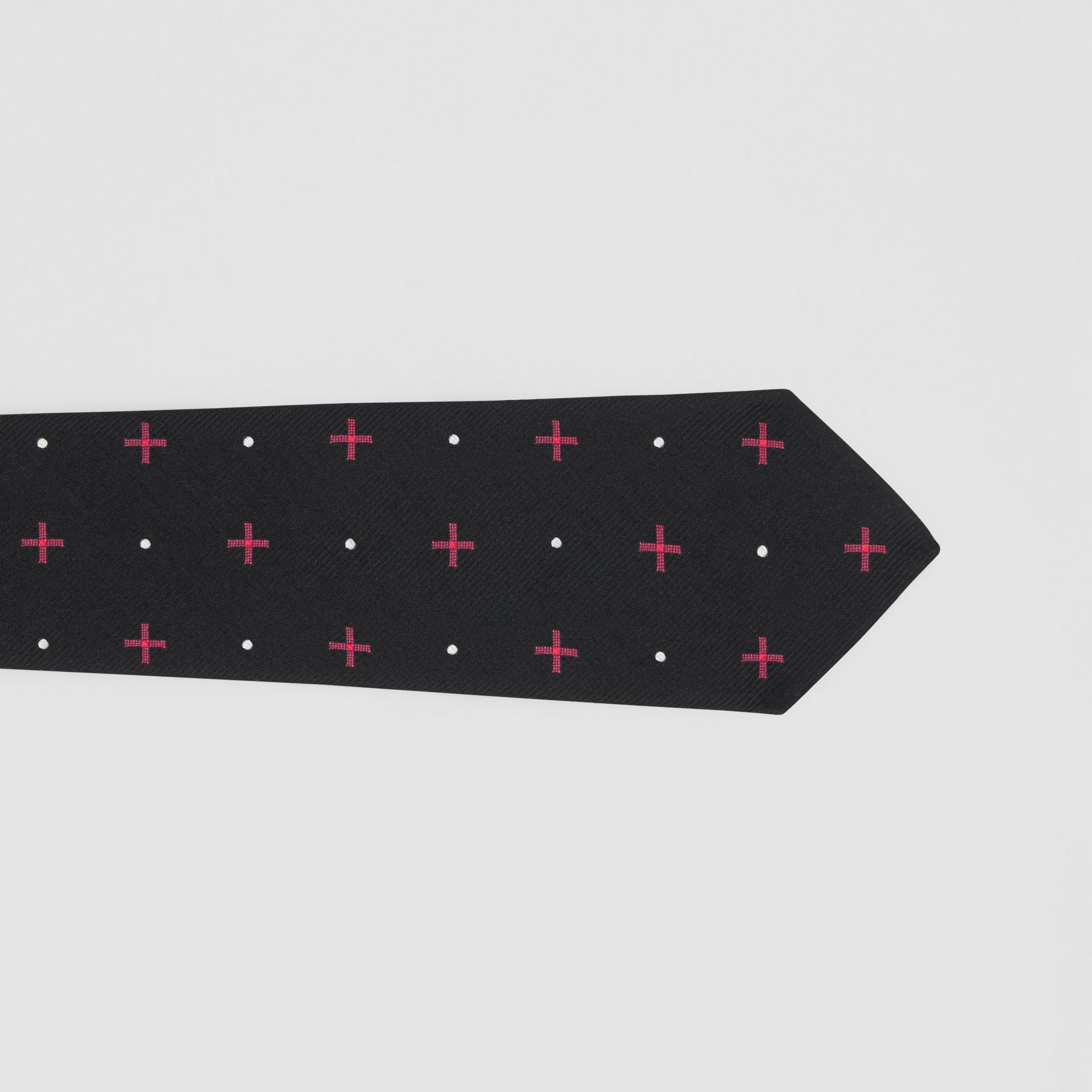 Classic Cut Graphic Silk Wool Jacquard Tie in Black - Men | Burberry United States - gallery image 1