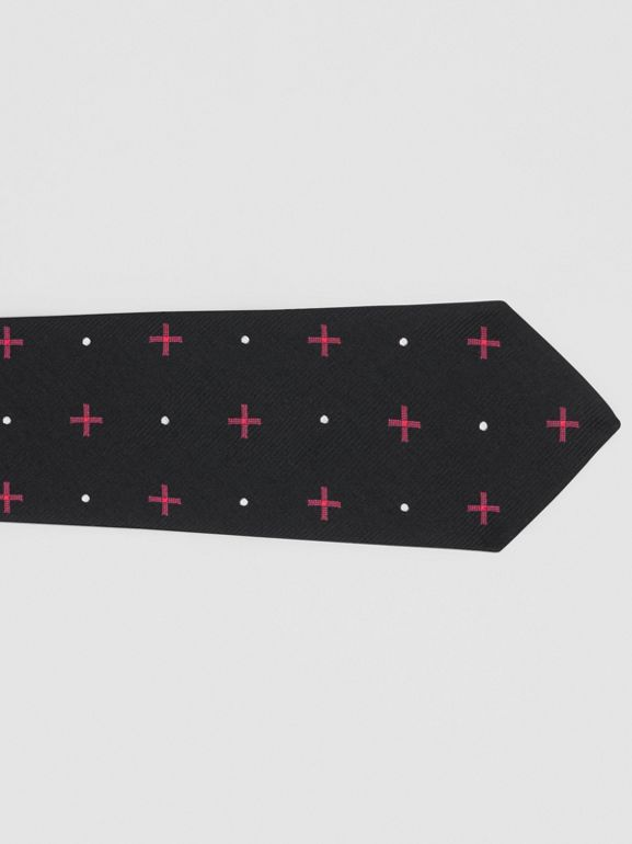 Classic Cut Graphic Silk Wool Jacquard Tie in Black - Men | Burberry United States - cell image 1