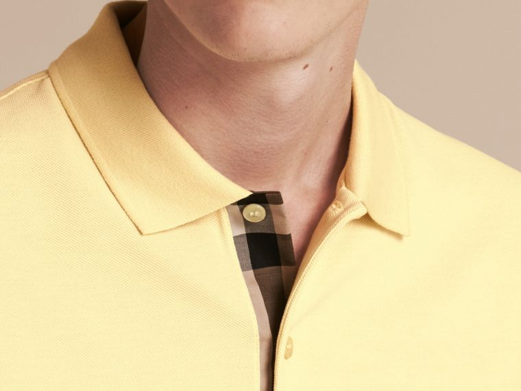 Check Placket Cotton Piqué Polo Shirt in Vanilla Yellow - Men | Burberry - cell image 4