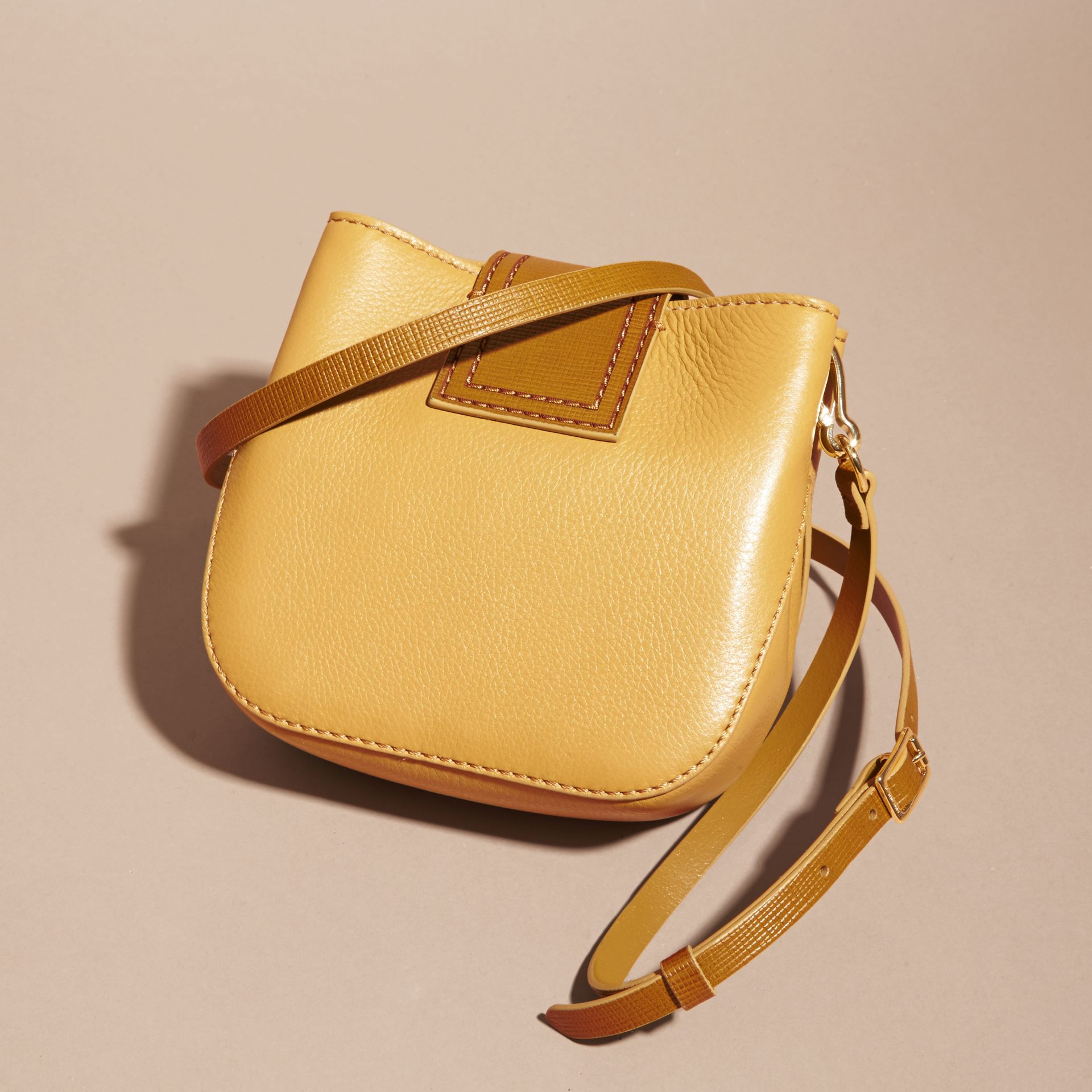 Ochre yellow The Small Square Buckle Bag in Leather - gallery image 5