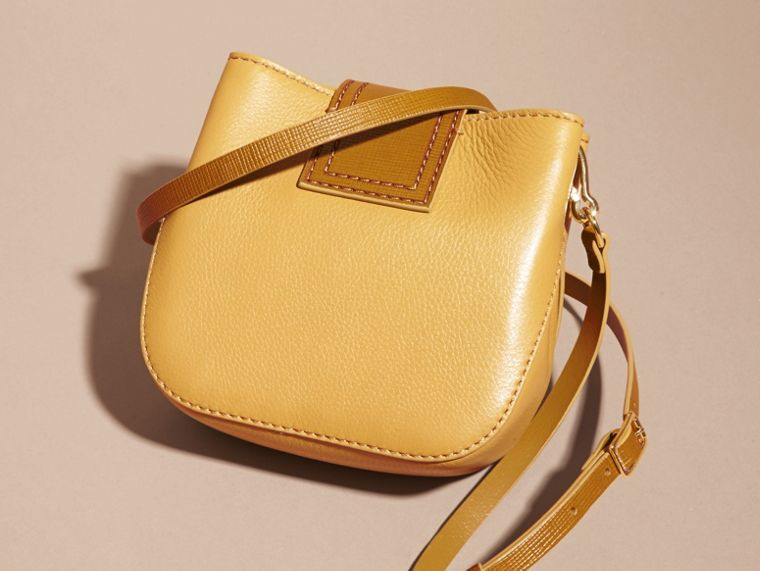 Ochre yellow The Small Square Buckle Bag in Leather - cell image 4