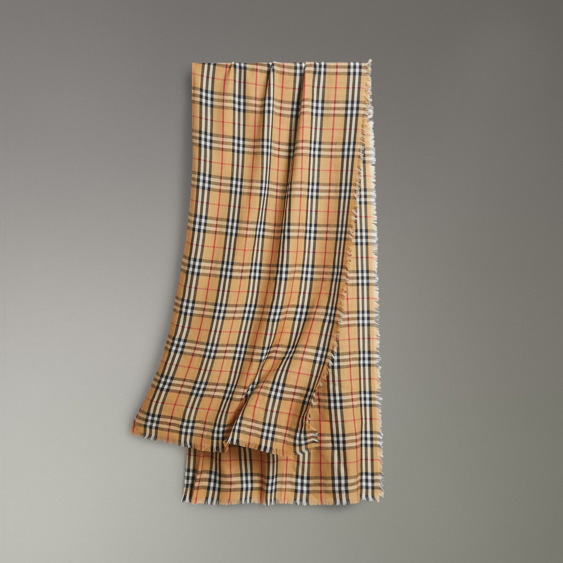 Vintage Check Lightweight Cashmere Scarf in Antique Yellow | Burberry United Kingdom - gallery image 0