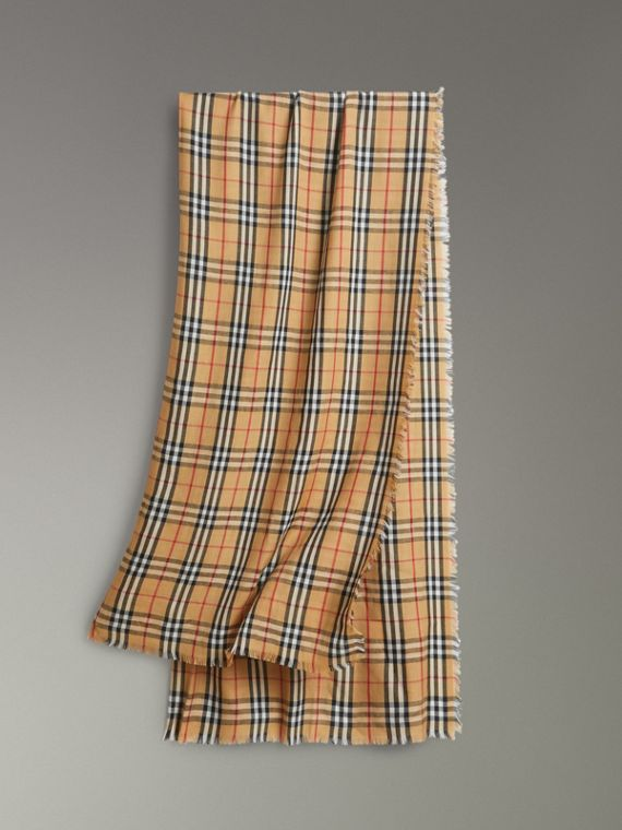 Vintage Check Lightweight Cashmere Scarf in Antique Yellow