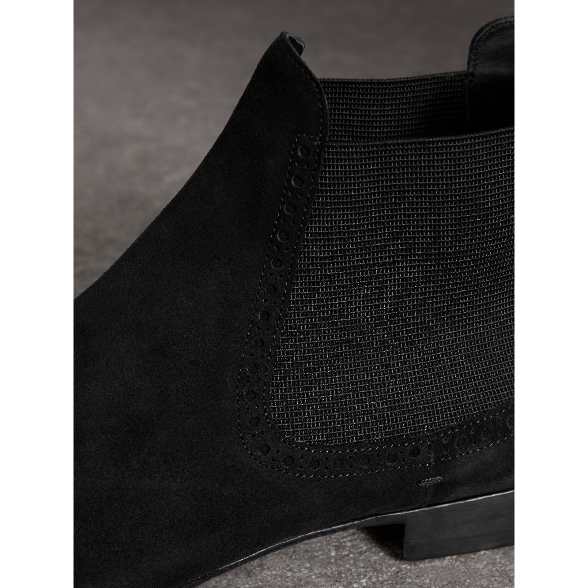 Brogue Detail Suede Chelsea Boots in Black - Men | Burberry - gallery image 1