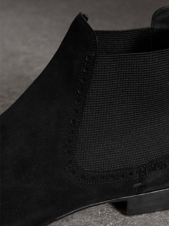 Brogue Detail Suede Chelsea Boots in Black - Men | Burberry - cell image 1