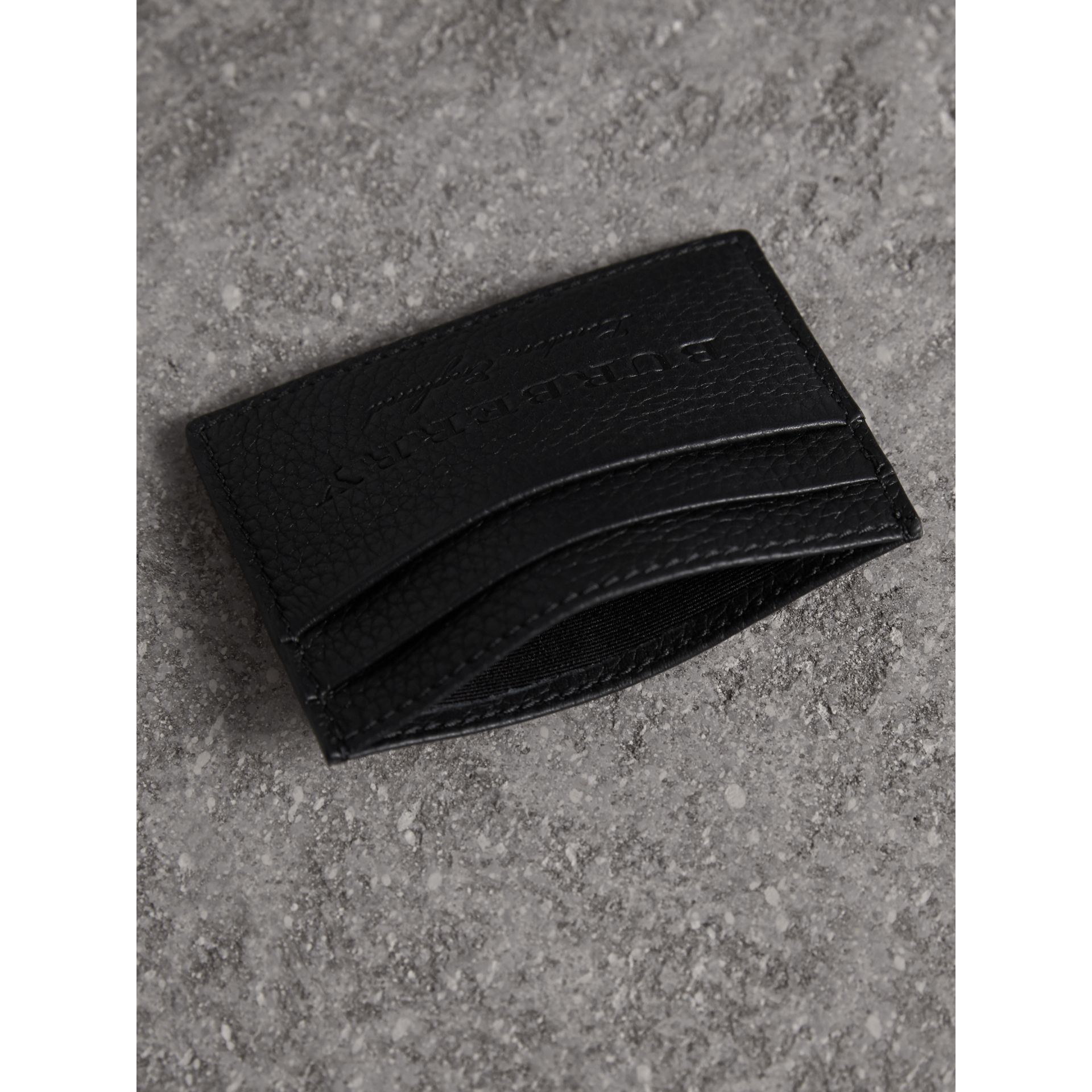 Textured Leather Card Case in Black - Men | Burberry United States - gallery image 4