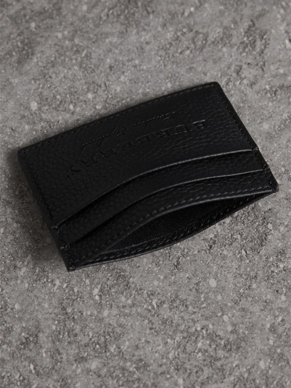 Textured Leather Card Case in Black - Men | Burberry - cell image 3