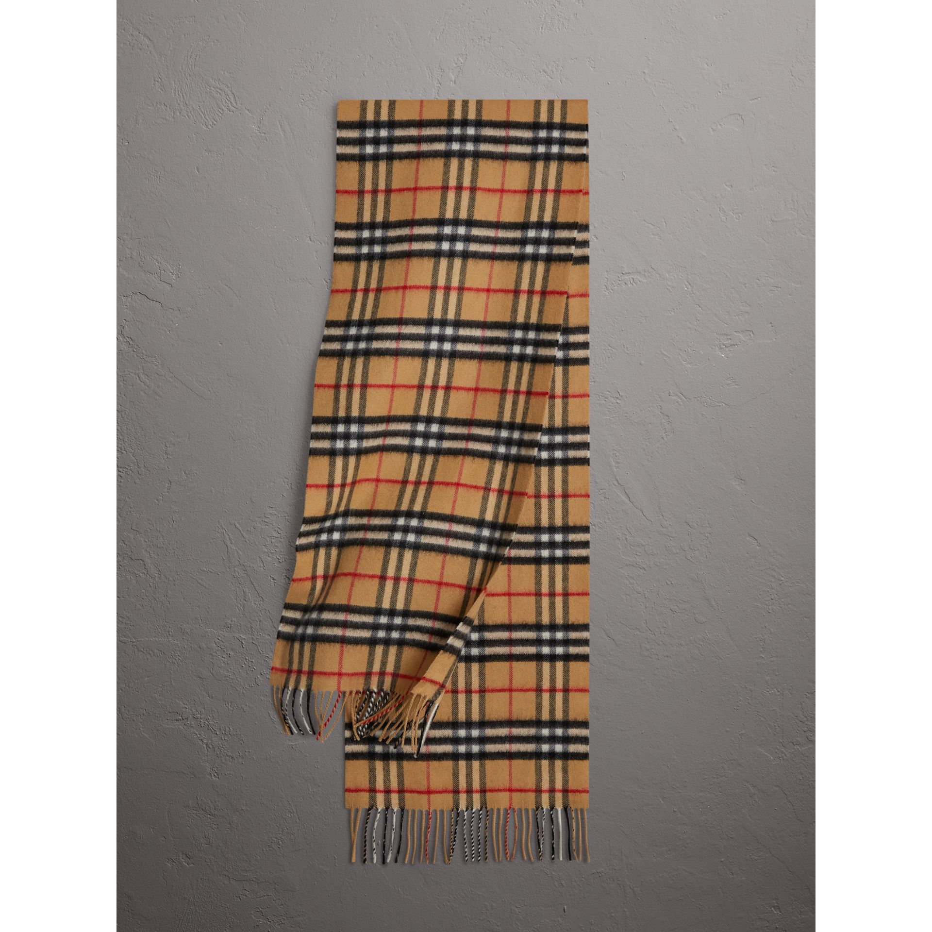 The Classic Vintage Check Cashmere Scarf in Antique Yellow | Burberry - gallery image 1