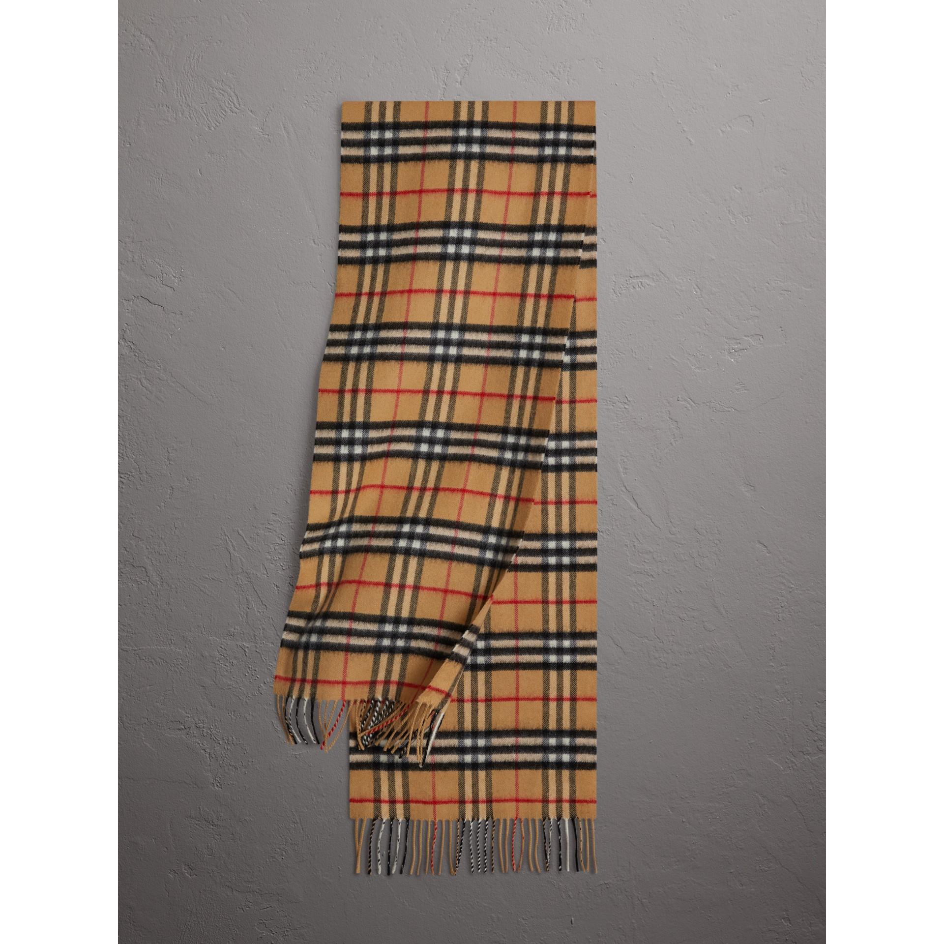 Классический шарф из кашемира в клетку Vintage Check (Античный Желтый) | Burberry - изображение 1