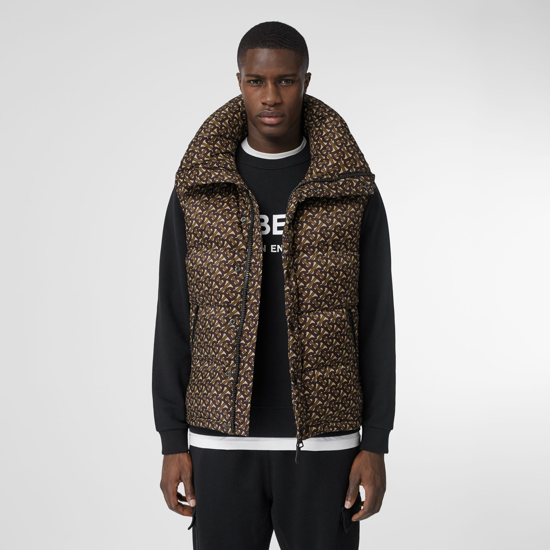 Detachable Sleeve Monogram Print Puffer Jacket in Bridle Brown - Men | Burberry Canada - gallery image 7