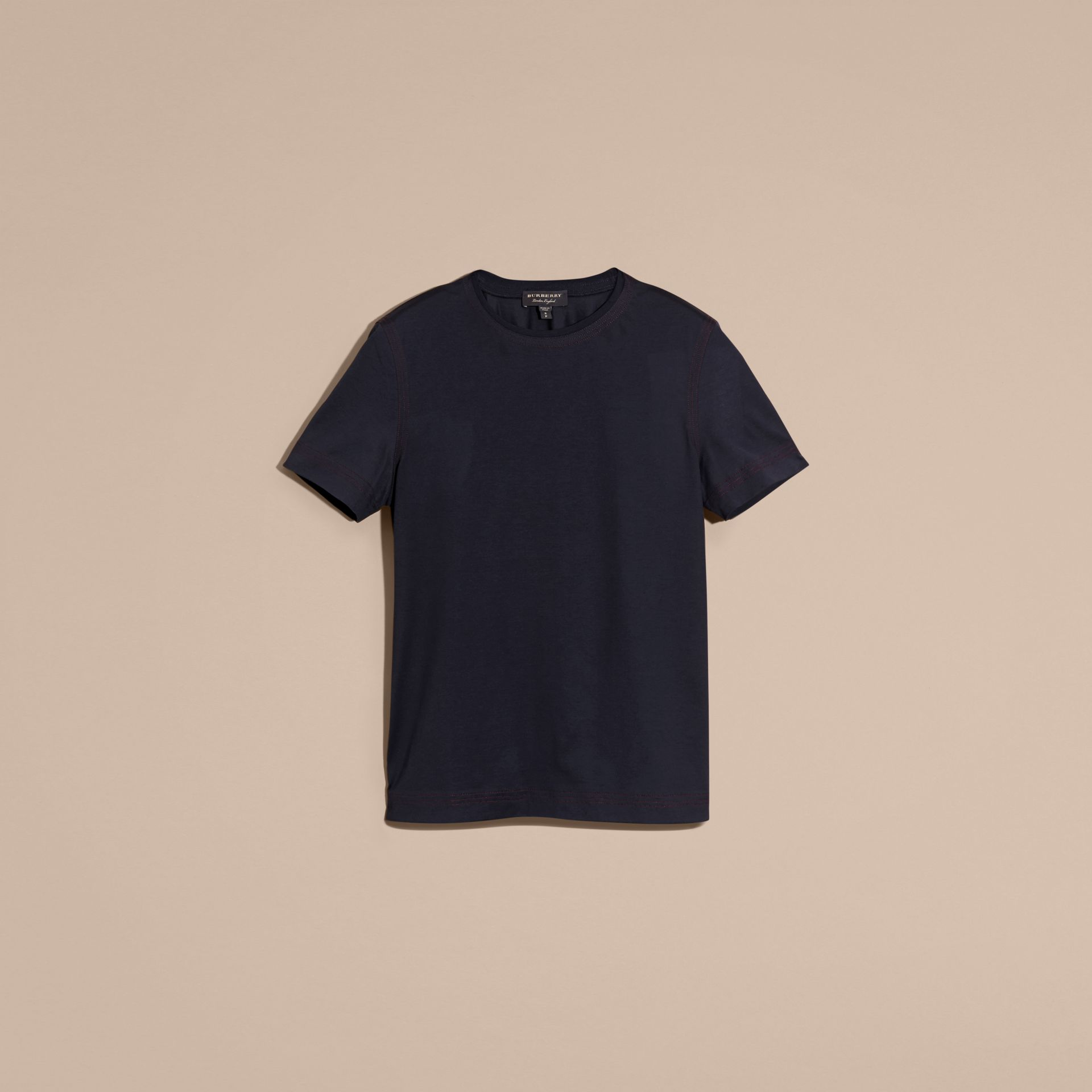 Navy Topstitch Detail Cotton T-shirt Navy - gallery image 4