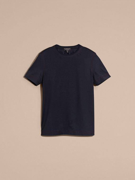 Navy T-shirt in cotone con impunture Navy - cell image 3