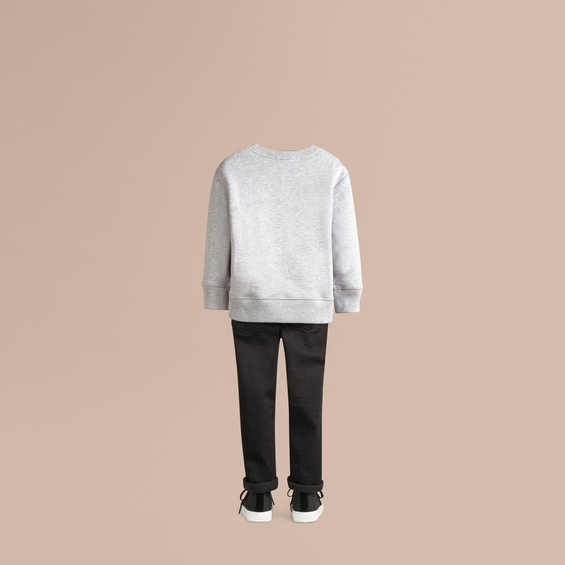 Mid grey melange Equestrian Knight Detail Cotton Sweatshirt Mid Grey Melange - gallery image 3