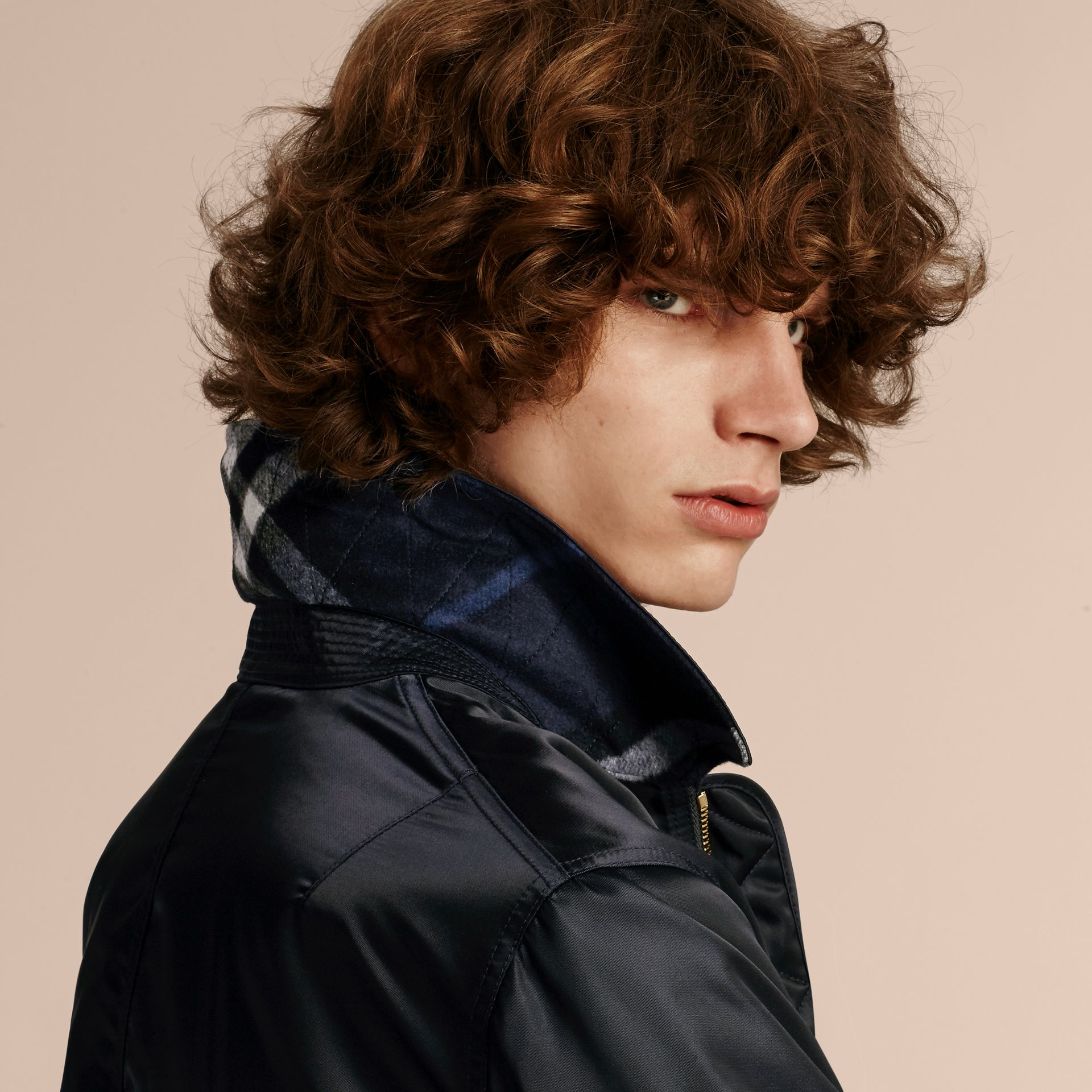 Navy Satin Bomber Jacket with Check Undercollar Navy - gallery image 5