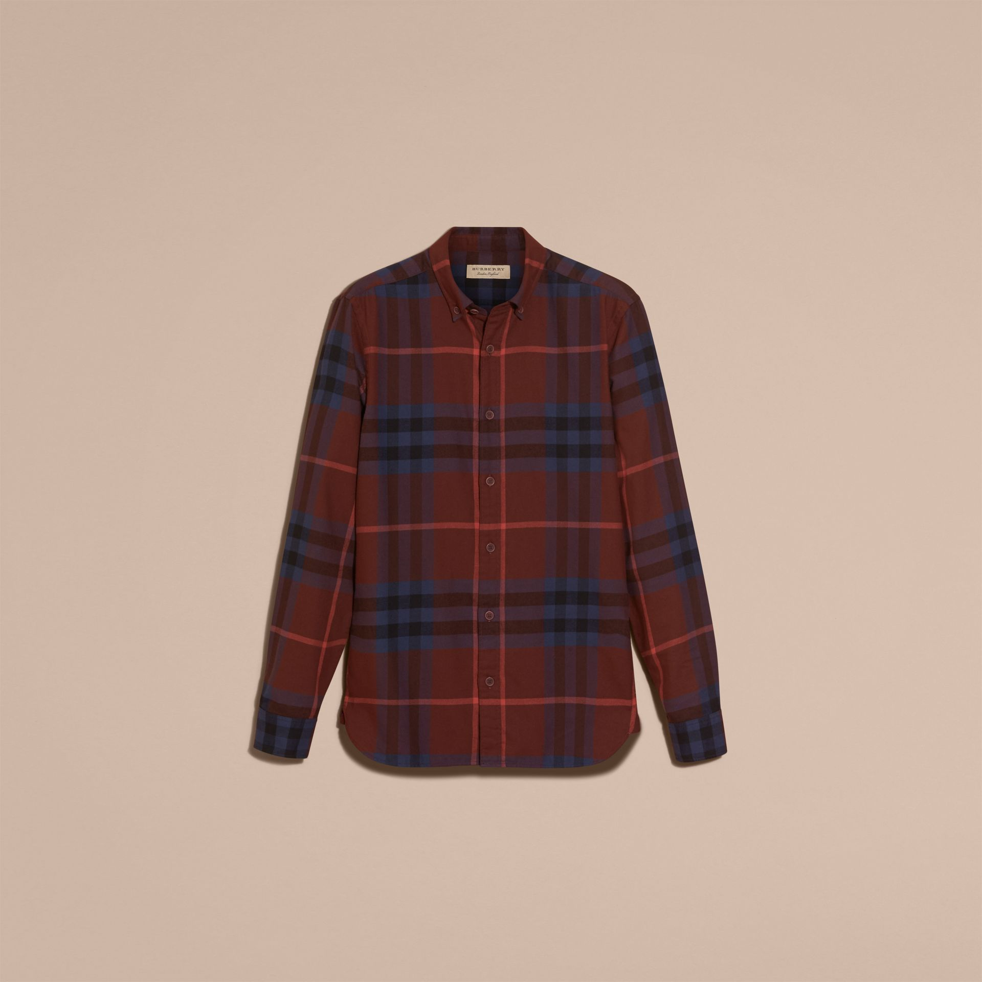 Dark elderberry Check Cotton Flannel Shirt Dark Elderberry - gallery image 4