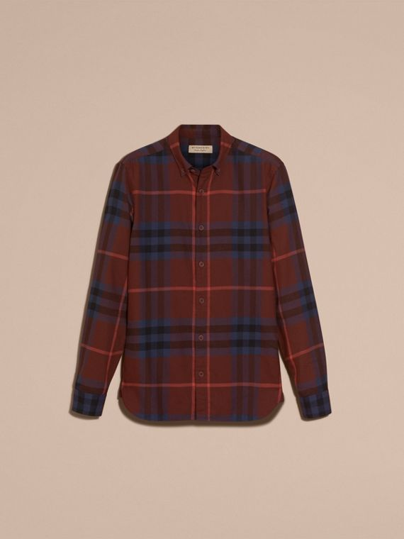 Dark elderberry Check Cotton Flannel Shirt Dark Elderberry - cell image 3