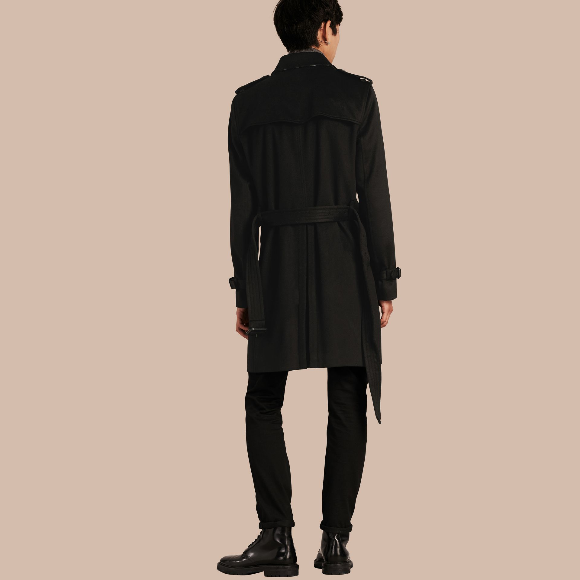 Black Cashmere Trench Coat Black - gallery image 3