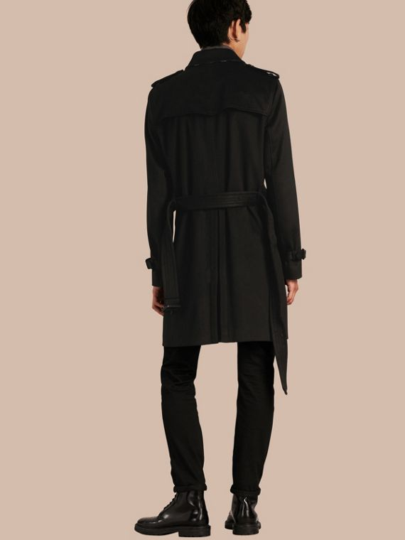 Trench coat in cashmere Nero - cell image 2