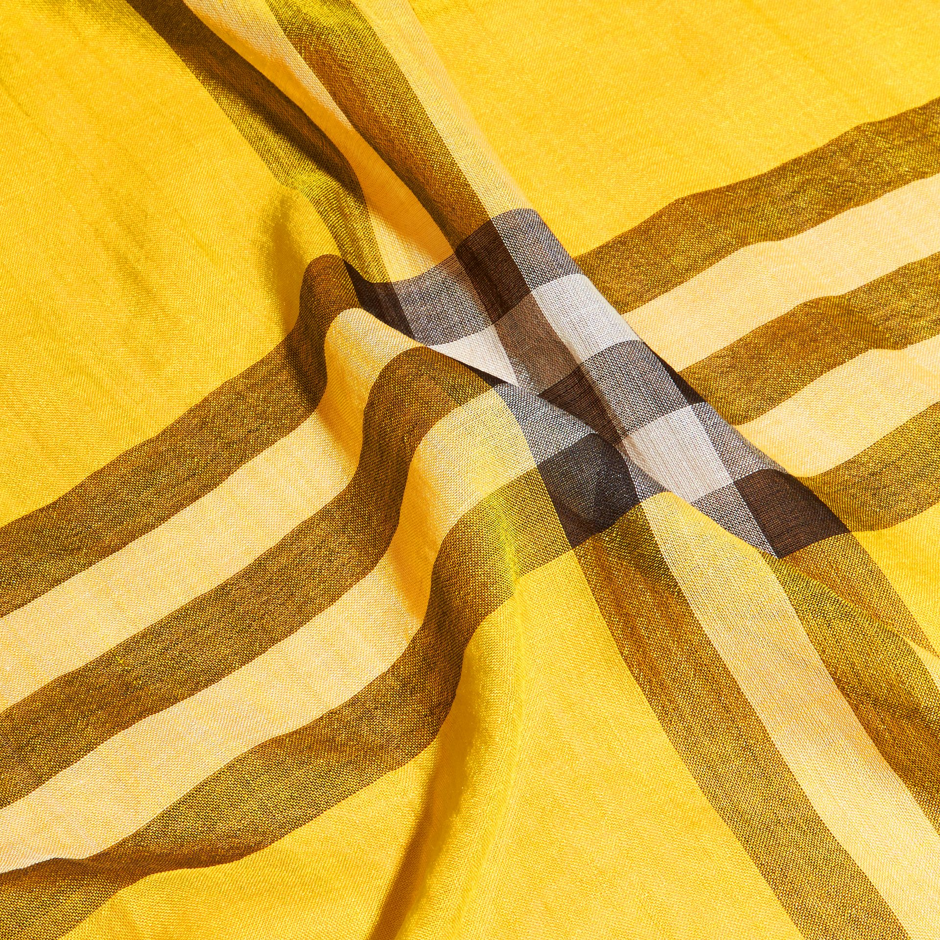 Lightweight Check Wool and Silk Scarf in Gorse Yellow - gallery image 4