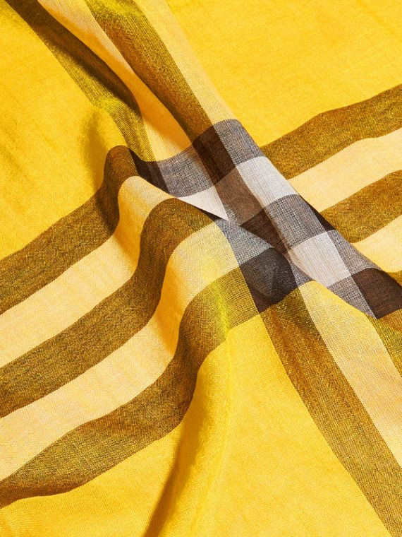 Lightweight Check Wool and Silk Scarf in Gorse Yellow - cell image 3