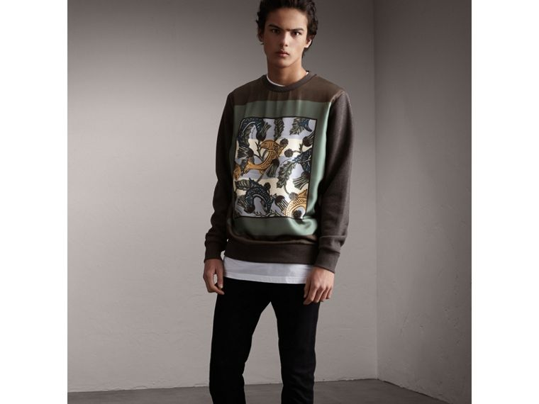 Unisex Beasts Print Silk Panel Cotton Sweatshirt in Charcoal Melange - Men | Burberry - cell image 4